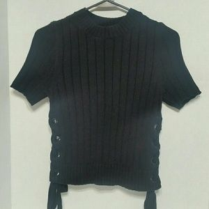Express ribbed sweater side tie short sleeve